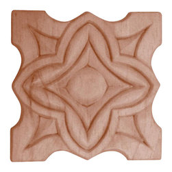 """3181 Wood Applique 3"""" Square - Decorative wood onlays and appliques, are decorative ornaments useful for bringing visual interest to flat areas. Embossed wood onlays and appliques are often used to decorate fireplace mantels, stove or range hoods and cabinetry headers."""