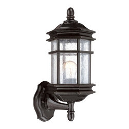 """Dolan Designs - Barlow 14.5"""" H Outdoor Wall Lantern in Winchester - Features: -Outdoor wall light. -Barlow collection. -Winchester finish. -Seedy glass. Specifications: -Accommodates: 1 x 100W medium base. -Overall dimensions: 14.5"""" H x 6.25"""" W x 7.25"""" D. - Backplate Size:5 1/2"""" H x 4 1/2"""" W x 5"""" Ext.."""