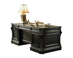 """Hooker Furniture - Telluride Wood Panel Executive Desk 563 - White glove, in-home delivery included!  Furniture assembly included!  Telluride������_s black paint finish with heavy reddish brown rub-through, carved leather panels and nail head trim give this home office furniture a rich masculine look.  Wood panels on visitor's side, leather top, seven drawers on steel ball bearing slides include two file drawers and center drawer with drop-front for use with a keyboard, two pullout writing slides, pencil tray which can be used left or right, dividers in middle drawer, left and right pedestal lock which locks the middle and file drawer, levelers.  Desk disassembles for delivery.  Kneehole opening: 27"""" w x 24"""" h  Keyboard space: 27 1/2"""" w x 18 3/4"""" d x 2 1/2"""" h  File Drawers: 15 1/16"""" w x 26 13/16"""" d x 9 1/2"""" h  Middle Side Drawers: 15 3/16"""" w x 18 1/2"""" d x 3 7/16"""" h"""