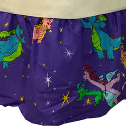 Dan River - Dragon Tales Twin Bedskirt Cartoon Dragons Bed Accessory - FEATURES:
