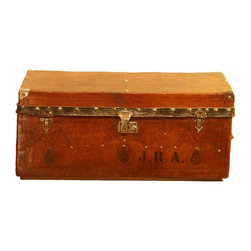 "Brazilian Leather Suitcase - Vintage Tooled Leather Suitcase from Brazil. Detailed with the initial's ""J.R.A"" after the orginal owner and upholstered on the inside with a bright floral fabric."