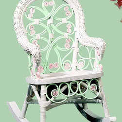 Spice Island Wicker - Kids Rocker Chair (White/Off-White) - Victorian style. Made from wicker. Green and pink color. 28 in. L x 24 in. W x 28 in. H (20 lbs.)