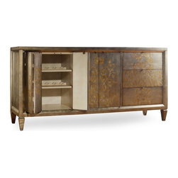 Hooker Furniture - Four-Door Three-Drawer Console, Visage - The look of an heirloom with all the modern amenities, this beautiful buffet is a feast for your eyes. Crafted of wood with a gold and silver leaf design on the doors and drawers, it's ready to hold your dishes, glasses, table linens — and even bottles, thanks to the wine rack.