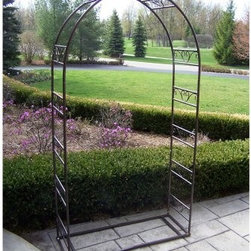Oakland Living Tuscan Wedding 7.25-ft. Iron Arch Arbor - The Oakland Living Tuscan Wedding 7.25-ft. Iron Arch Arbor incorporates fine detail in a simple but elegant arch design. Arbors give you many outdoor decorating possibilities and are commonly used to frame walkways or to create a transition point to backyards gardens or patios. It's the perfect way to finish off your landscaping projects. Plant your favorite flowers and vines next to the side panels to add color and depth. Scrolling accents fill the spaces between the side bars for added elegance. This garden arbor is made of iron and is built to last. A rectangular base is included to add extra stability. Assembly is required and includes detailed instructions. Anchor stakes (set of 4) is included. Available in hammered bronze.