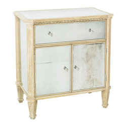 Lillian August - Lillian August Sydney Door Chest LA99571-01 - The combination of antique mirror and cerused oak create a unique casual level of sophistication. One drawer and two doors with nickel hardware.