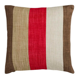 "Surya JS012-2222P 80% Viscose / 20% Linen 22"" x 22"" Decorative Pillow - Thick stripes make this stylish pillow the perfect accessory to your room. Colors of red, brown, tan, and beige accent this decorative pillow. This pillow contains a poly fill and a zipper closure. Add this 22"" x 22"" pillow to your collection today. Filler: Poly Fiber. Shape: Square"