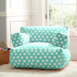Pool Painted Dot Eco Lounger - Polka dots have never looked so comfy. Add this soft lounger to your playroom or living room for an extra cozy spot.