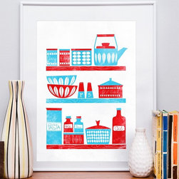 In the Kitchen - Mid Century Modern inspired A3 letterpress style poster print - Turquoise and red together is one of my favorite color combinations, and this fun retro print is so charming it may just make you want to redo your kitchen around it.