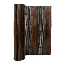 "Stained Mahogany Rolled Bamboo Fence 1"" D X 6' H X 8' L - Mahogany Rolled Bamboo Fence 1"" D X 6' H X 8' L"