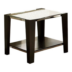 Steve Silver - Steve Silver Newman 26 Inch Square End Table in Espresso - Add a contemporary feel to your entertaining area with the Newman End Table. This glass top table is completed with espresso block legs and table base with a silver trim. What's included: End Table (1).