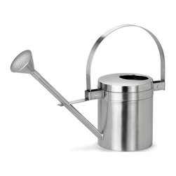 Blomus - Aguo Stainless Steel 5 L Watering Can - Capacity: 5 L. Made of stainless steel. Designed by Stotz-Design. 1-Year manufacturer's defect warranty. 21.43 in. Dia. x 15.01 in. H