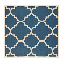Safavieh - Courtyard Navy and Beige Square: 7 Ft. 10 In. x 7 Ft. 10 In. Rug - - Safavieh takes classic beauty outside of the home with the launch of their Courtyard Collection. Made in Turkey with enhanced polypropylene for extra durability these rugs are suitable for anywhere inside or outside of the house. To achieve more intricate and elaborate details in the designs Safavieh used a specially-developed sisal weave  - Pile Height: 0.25  - Construction: Machine Made  - Easy to Clean?Just sweep vacuum or rinse off with a garden hose. Safavieh - CY6243-268-8SQ