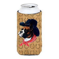 Caroline's Treasures - Boxer Dog Country Lucky Horseshoe Tall Boy Koozie Hugger - Boxer Dog Country Lucky Horseshoe Tall Boy Koozie Hugger Fits 22 oz. to 24 oz. cans or pint bottles. Great collapsible koozie for Energy Drinks or large Iced Tea beverages. Great to keep track of your beverage and add a bit of flair to a gathering. Match with one of the insulated coolers or coasters for a nice gift pack. Wash the hugger in your dishwasher or clothes washer. Design will not come off.