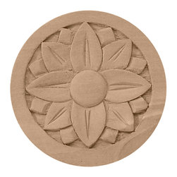 "Ekena Millwork - 2 3/4""W x 2 3/4""H x 1/4""P Bedford Rosette, Rubberwood - 2 3/4""W x 2 3/4""H x 1/4""P Bedford Rosette, Rubberwood. Our rosettes are the perfect accent pieces to cabinetry, furniture, fireplace mantels, ceilings, and more. Each pattern is carefully crafted after traditional and historical designs. Each piece comes factory primed and ready for your paint. They can install simply with traditional adhesives and finishing nails."
