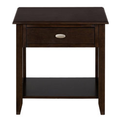 "Jofran - Merlot End Table With  Drawer and Shelf - This end table will help you to create a feeling of relaxed style inside your living room. It is designed to be stylish without looking stuffy and accomplishes its task with a rich, merlot finish over birch veneers. English dovetails add quality to the piece while keeping it affordable and a brushed nickel knob adds accent to the drawer. Storage includes a shallow drawer and one open shelf. This living room table collection features casual elegance with just the right amount of beauty. We want our homes to be fashionable but many of us also desire a space that is livable, where guests can kick-off their shoes and have a seat without feeling like they might disrupt the ""look"" of the room. This living room collection is designed for just that - creating a fashionable style with a relaxed ambiance. Placed at an affordable price-point, this group is made of birch veneers beneath a merlot finish. English dovetails enhance the quality of the items while still keeping them at an affordable price-point and nickel drawer pulls add detail to the group."