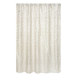 Sweet Jojo Designs - Sweet Jojo Designs Champagne and Ivory Victoria Jaquard Shower Curtain - Invigorate the look of your bathroom with this ivory and champagne shower curtain. Constructed of durable polyester for easy care,this shower curtain is designed to easily coordinate with other Sweet JoJo accessories from the same line.