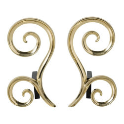 Arteriors - Libby Andirons, Set of 2 - This beautiful polished brass andiron set evokes an understated elegance that will hold its own in any room. Black iron billet bars attach to the back. Decorative use only.