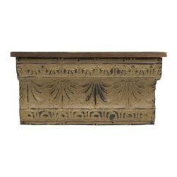 iMax - Small Claremore Shelf - Small weathered Pine shelf with embossed design.