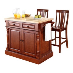 Crosley Furniture - Crosley Oxford Butcher Block Top Kitchen Island with Stools in Cherry - Crosley Furniture - Kitchen Carts - KF300061CH