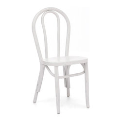 ZUO ERA - Nob Hill Chair Antique White (set of 2) - Forget the sidewalk cafe; this chair is perfect for your kitchen nook. The handcrafted elm wood chair features a traditional curved design and comes in three rustic finishes. It'll add a hint of French finesse to your home.