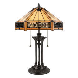 Quoizel - Quoizel Vintage Bronze Lamps - SKU: TF6669VB - Features a handcrafted tiffany art glass shade in a creamy neutral color, overlayed with intricate filigree accent panels.