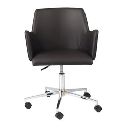 Eurostyle - Sunny Office Chair-Brn/Chrm - Why should working at home be dreary? Design your office to reflect your personality and taste. This office chair has style without being flashy. It says that you mean business, but appreciate a nontraditional approach when necessary.