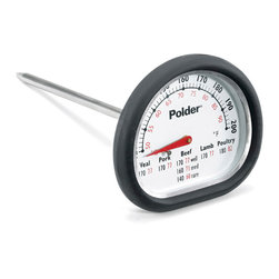 Polder Deluxe In Oven Thermometer - You can now monitor the temperature of your meat without opening the oven door!  The Polder In Oven Meat Thermometer features a silicone grip that is heat resistant up to 650 degrees farenheit.Product Features                            Silicon comfort grip is heat resistant up to 650 F              Easy to read layout and flat-base design for laying down               Dishwasher safe               5 minute alarm               USDA cooking chart printed directly on thermometer face              Range: 120 F to 200 F (49 C to 93 C)