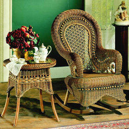 Spice Island Wicker - Country Style Rocker & End Table Set - Choose Table Size: Small: 19 in. Diam. x 19 in. HBring a little blend of country and Victorian styling to your space with this beautifully detailed rocker and end table set.  Balloon back and aprons are accentuated with unique ball and loop patterning.  It�۪s an elegant choice that will transform a corner of your room. * Includes End Table and Rocker chair. Brown Wash Finish. For indoor use. Rocker: 27 in. W x 37.5 in. D x 43 in. H