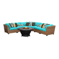 TKC - Tuscan 6 Piece Outdoor Wicker Patio Furniture Set 06e 2 for 1 Cover Set, Blue - Features: