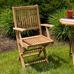 Holley Teak Folding Arm Chair - Perfect for use with a poolside table, this Holley Teak Folding Arm Chair is easy to unfold for use or store away quickly. Add two or four chairs to create an inviting dining or patio set.