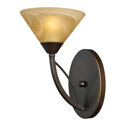 Elk Lighting - ELK Lighting  Elysburg 1-Light Wall Sconce - The Geometric Lines Of This Collection Offer Harmonious Symmetry With A Sophisticated Contemporary Appeal. A Perfect Complement For Kitchens, Billiard Parlors, Or Any Area That Requires Direct Lighting. Featured In Satin Nickel With White Marbleized Glass