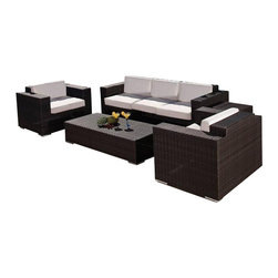 Source Outdoor - Murano Collection Patio Seating Set - Includes Sofa, (2) Lounge chairs, coffee table. Included Off-White cushions are made of thick outdoor foam covered in durable white outdoor polyester fabric. Color/Finish: Espresso. Material: High Density Polyethylene Wicker. No Assembly required. Frame made with high quality powder coated aluminum to prevent rust and corrosion. Weave is made of High Density Polyethylene, which ensures the long lasting beauty of the furniture. Built to Hospitality grade and meant to be outside in the elements 24/7 . It is recommended that furniture not be stored upside down