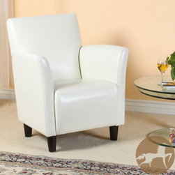 Christopher Knight Home - Christopher Knight Home Francisco White Bonded Leather Club Chair - Winter white makes a stunning sight any time of year, and this white leather club chair will surely change the entire look of your room. The blocky legs are finished in a deep espresso to add visual depth, and the seat styling has a retro-modern look.