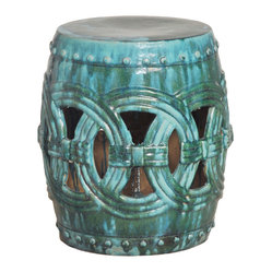 Kathy Kuo Home - Pierced Linked Green Fortune Asian Ceramic Garden Seat Stool - Traditionally used in China as tea tables- these garden stools make a perfect addition to your living space as side tables, or clustered together to be used as a coffee table.  Glazes are triple fired for added luster and shine.  With a hand made product, glaze variations of up to 10% is to be expected.