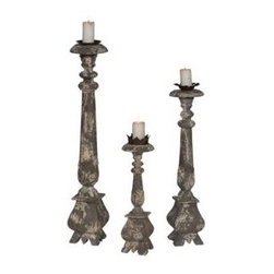 CARVED CANDLE STANDS-Potting Shed Gris hand-finished - CARVED CANDLE STANDS; Potting Shed Gris hand-finished on set of carved candle stands. Set/3