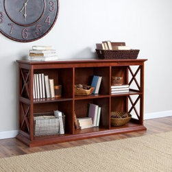 Belham Living Hampton Console Table in Cherry - If you're looking for great style that you won't find anywhere else then The Hampton Console Table in Cherry is exactly what you want. It has a clean crisp style that works with any home's decor. Two shelves each feature three cubby compartments so you'll have enough room for lots of books DVDs CDs display items and more. Each compartment has a cord/wire management hole in the back so hooking up and moving electronics has never been easier. Constructed with a solid birch wood frame in cherry this console table bookcase has strong durable engineered wood (MDF) shelves and compartment dividers in a matching cherry finish. The sides of the unit have a modern X design that adds an artistic element to the table's sturdy structure. In fact the Hampton Console Table Bookcase is so sturdy it can be stacked up to two units high. Image depicted shows 2 units stacked this item is for purchase of 1 unit. Recommendation is not to stack more than 2 units. Assembly required. Dimensions Overall: 55.5W x 14.5D x 32H inches Compartment (each): 17W x 13.125D x 12.31H inches About Belham Living Belham Living builds catalog-quality furniture in traditional styles at a price that actually makes sense. By listening to our customers and working closely with great manufacturers we build beautiful pieces worthy of your home. Rich wood finishes attention to detail and stylish lines that tie everything together are some of the hallmarks of a Belham Living piece. From the living room or bedroom through the kitchen and out onto the deck there's something from an incredible Belham collection perfect for your style.