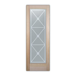 """Bathroom Doors - Glass Bathroom Door Frosted Obscure  Cross Hatch - CUSTOMIZE GLASS BATHROOM DOORS!  Quality frosted glass bathroom door designs YOU Customize to suit YOUR decor!  Obscure glass bathroom doors create obscurity thru art!  Ship for just $99 to most states, $159 to some East coast regions, custom packed and fully insured with a 1-4 day transit time.  Available any size, as bathroom door glass insert only or pre-installed in a door frame, with 8 wood types available.  ETA for obscure decorative glass bathroom doors will vary from 3-8 weeks depending on glass & door type.........Block the view, but brighten the look with a beautiful interior glass door featuring a custom frosted glass design by Sans Soucie!   Select from dozens of sandblast etched obscure glass designs!  Sans Soucie creates their bathroom glass door designs thru sandblasting the glass in different ways which create not only different effects, but different levels in price.  Choose from the highest quality and largest selection of frosted decorative glass interior doors available anywhere!   The """"same design, done different"""" - with no limit to design, there's something for every decor, regardless of style.  Inside our fun, easy to use online Glass and Door Designer at sanssoucie.com, you'll get instant pricing on everything as YOU customize your door and the glass, just the way YOU want it, to compliment and coordinate with your decor.  When you're all finished designing, you can place your order right there online!  Glass and doors ship worldwide, custom packed in-house, fully insured via UPS Freight.   Glass is sandblast frosted or etched and bathroom door designs are available in 3 effects:   Solid frost, 2D surface etched or 3D carved. Visit our site to learn more!"""