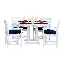 "POLYWOOD La Casa 5 Piece Dining Set & Cushions - Dining set above includes (4) POLYWOOD La Casa Cafe Style Dining Arm Chairs, (4) Seat Cushions and (1) POLYWOOD 48"" Round Dining Table.  This set comes only in white with navy cushions."