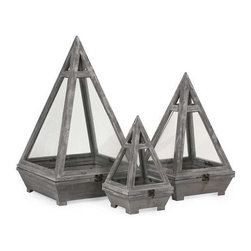 Kira Wood Terrariums - Set of 3 - This set of three fir wood terrariums each feature a pyramid shape, glass inserts and iron closures to create a beautiful miniature garden landscape indoors.