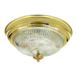 Premier Faucet - Surface Mount Halophane 13 x 4.75 inch Swirl Fixture - AF Lighting 671358 12-3/4in. D by 6in. H Halophane Swirl Ceiling Fixture, Polished Brass Finish.