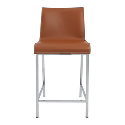 Euro Style - Cam Counter Stool (Set Of 2) - Cognac/Chrome - Three variations on a modern classic. The real leather seats and backs offer up a sense of elegant luxury. The chromed steel legs and footrests make them as strong as they are contemporary.