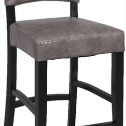 Chintaly Imports - 0297-CS 26 Stationary Solid Birch Counter Stool, Grey - Wood: Solid Birch. High Upholstered Back. Foot Rest for Extra Comfort. CA Fire Retardant Foam. Fully Assembled.