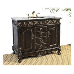 Legion Furniture - Columbo Single Sink Bathroom Vanity - LF06-1 - Shop for Bathroom Cabinets from Hayneedle.com! Enjoy yesteryear's craftsmanship with today's fine fixtures. The Columbo Single Sink Bathroom Vanity features Old-World sculpted details finials and scroll feet highlighted by the antiqued Espresso finish. The black Galaxie granite countertop frames a pearl white ceramic sink and is pre-drilled to fit any standard 8-inch faucet.Three generous doors with brass hardware open to a roomy cabinet with a convenient shelf behind the center door. A convenient cutout on the back makes installation easy. Antique beauty is yours today!About Legion Furniture LLCLegion Furniture LLC is a Sacramento California-based company that specializes in commercial and residential furniture. The company offers thousands of items all made by expert craftsmen. Their product lines incorporate a wide variety of styles to address the needs of every designer. From contemporary vanities to traditional barstools Legion Furniture can outfit your home in the style of your dreams.
