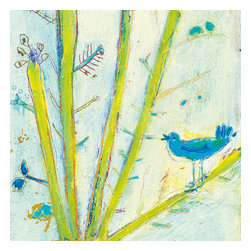 Sugarboo Designs - Blue Bird Left Art Print 36 x 36 - Vintage Art Print on Wood by Sugarboo Designs
