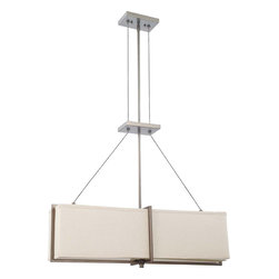 Hazel Bronze Energy Star 4 Light Chandelier/Pendant With Khaki Fabric Shade - Condition: New - in box