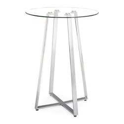 Zuo Modern - Lemon Drop Bar Table - A cosmopolitan and sleek piece, the Lemon Drop has a clear tempered glass top with chrome steel tube base.