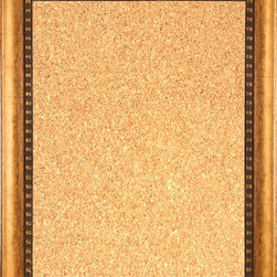 """Framed Cork Board 16"""" x 20"""" - with Dark Gold Finish Scoop Frame - 16"""" x 20"""" framed premium cork board produced to meet designer quality standards. This decorative framed bulletin boards are produced using high-precision framing techniques for a high-quality finished product with an extra thick cork surface. Our progressive business model allows us to offer these practical, yet decorative message boards to you at the best wholesale pricing, significantly less than frame shop corkboards, affordable to all. Great for office, conference room, home, kitchen, scheduling, leaving memos, to-do lists, family schedules, kid's art, photos, mementos, reminders, messages, lists, as an organizer, menu, for writing, drawing, classroom, school teacher, coaching and more. This corkboard is mounted into our 3"""" wide dark gold finish scoop frame by one of our expert framers. This framed pinboard comes with hardware, ready to hang on your wall, with the option of hanging horizontally or vertically.  We present a comprehensive collection of exceptional framed cork boards."""