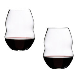 "Riedel - Riedel Swirl Red Wine Glasses - Set of 2 - The tumblers embrace the same care-free, relaxed attitude as Riedel's ""O� series which pioneered the casual wine glass category when they were introduced in 2004. Wine-friendly with everyday appeal, Swirl is dishwasher safe and, like the original ""O� series, they're stackable making them ideal for anyone with limited storage."