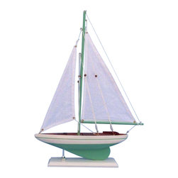 "Handcrafted Model Ships - Pacific Sailor Green 17"" - Beach Theme - Not a model ship kit"