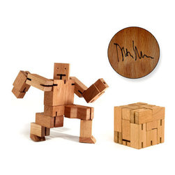 Areaware - Areaware Cubebot Extra Large - Robot toys are usually made of plastic and require batteries. Not this one! Inspired by Japanese Shinto Kumi-ki puzzles, the Cubebot is a non-traditional take on the toy robot. Cubebots's powerful hardwood frame can hold dozens poses, and his elastic-band muscles and durable wood limbs make him impervious to breakage. When it's time for him to rest, he folds into a perfect cube. An enduring classic that will withstand generations of play. Recommended for ages 12+. Dimensions: 23 inches tall with 31 inch arm span (at play); 8.5 x 8.5 inch cube (at rest)